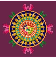 Human hands india yoga mandala vector