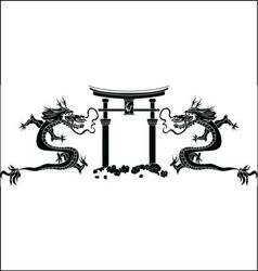Torii and dragons stencil vector