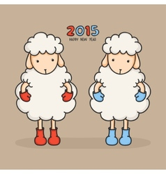 Colorful cute sheep in boots happy new year 2015 vector