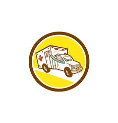 Ambulance emergency vehicle cartoon vector
