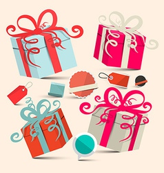 Gift boxes set with empty labels - retro vector