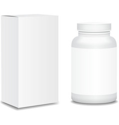 Blank medicine bottle with box realistic isolated vector