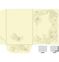 Template for folder with floral element vector