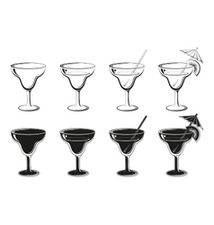 Set glasses black contours and silhouettes vector