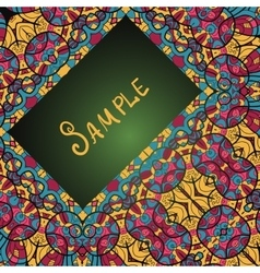 Greeting card with floral ornament ethnic paisley vector