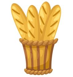 Baguette in basket vector