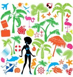 Set of summer travel and vacations symbols vector
