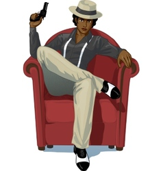 Retro character attractive afroamerican mafioso vector