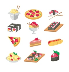 Various food icons set - fruit vegetables meat vector