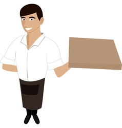 A waiter with a pizza vector