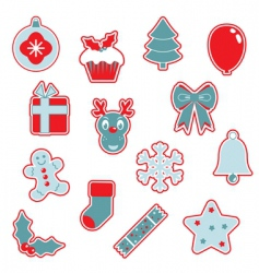 Red and blue christmas icons vector