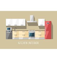Kitchen furniture modern trendy design vector