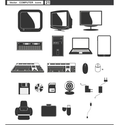 Set web icons retro monitor and computer vector
