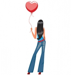 Girl holding balloon vector