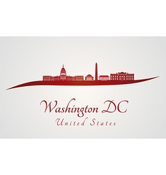 Washington dc skyline in red and gray background vector
