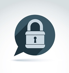 Monochrome speech bubble with a padlock isolated vector