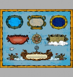 Antique map frame decorations vector