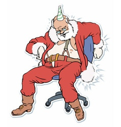 Santa claus sleeping on a chair a vector