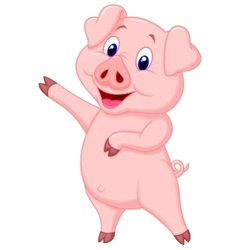 Cute pig cartoon presenting vector