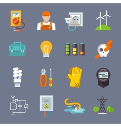 Electricity icon flat vector