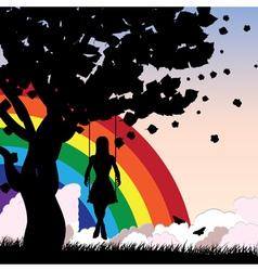Rainbow girl swing vector
