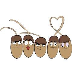 Five funny cartoon acorn vector