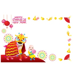 Chinese new year frame with lion dancing vector