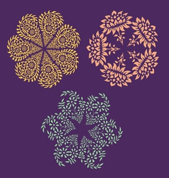 Ornamental round floral patterns vector