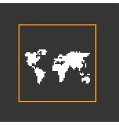 Simple style pixel icon continents design vector