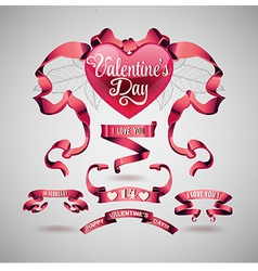 Valentines day banners and ribbons vector