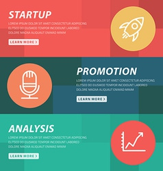 Flat design concept for startup promotion analysis vector