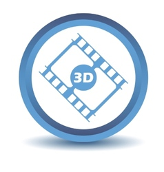 Blue 3d film icon vector