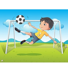 A young gentleman kicking a soccer ball vector