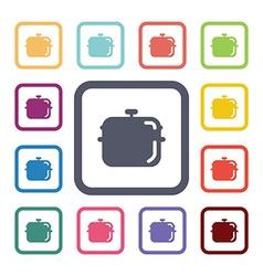 Pot flat icons set vector