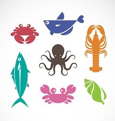 Set of seafood symbols vector