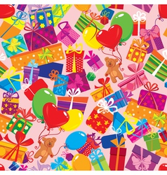 Seamless pattern with colorful gift boxes present vector