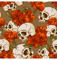 Skull and flowers seamless background vector