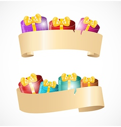 Banners with gift boxes vector