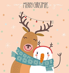 Deer and snowman vector