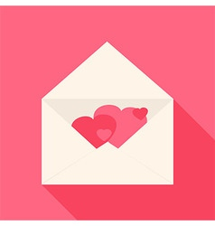 Open envelope with hearts inside vector