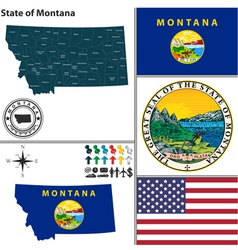Map of montana with seal vector