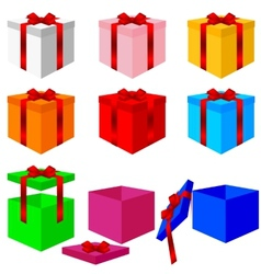 Set of colorful box christmas gifts vector