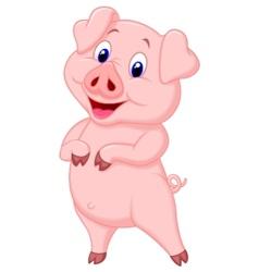Cute pig cartoon posing vector