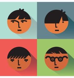 Boys head icons with shadows vector