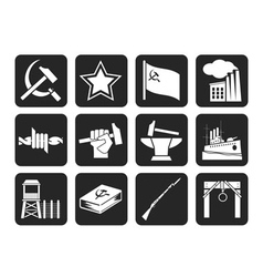 Silhouette communism and revolution icons vector
