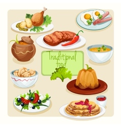 Traditional food dishes set vector