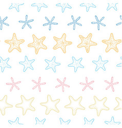 Starfish colorful line art frame seamless pattern vector