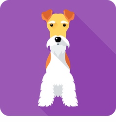 Fox terrier dog sits icon flat design vector