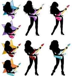 Rock star guitarist girl silhouettes set vector