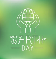 Earth day logo in linear style vector